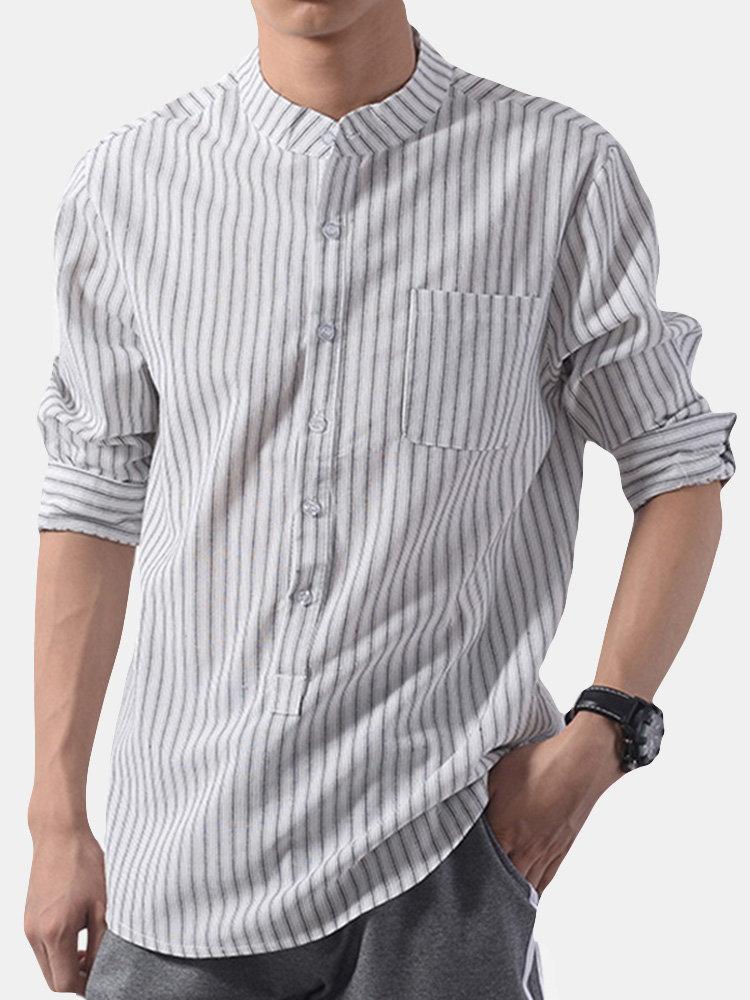 Мужская мода в полоску воротник стойка три четверти рукав свободного покроя повседневная Рубашка