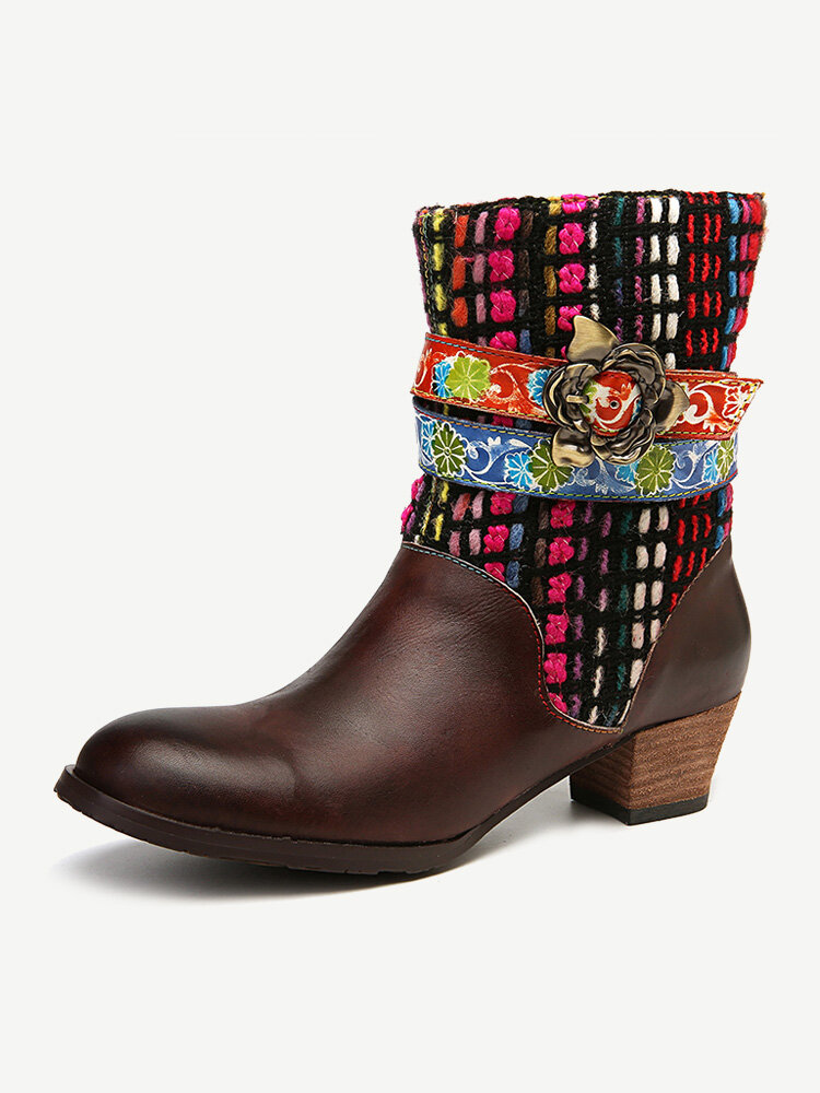 SOCOFY Women Retro Colorful Woolen Genuine Leather Splicing Winter Short Boots