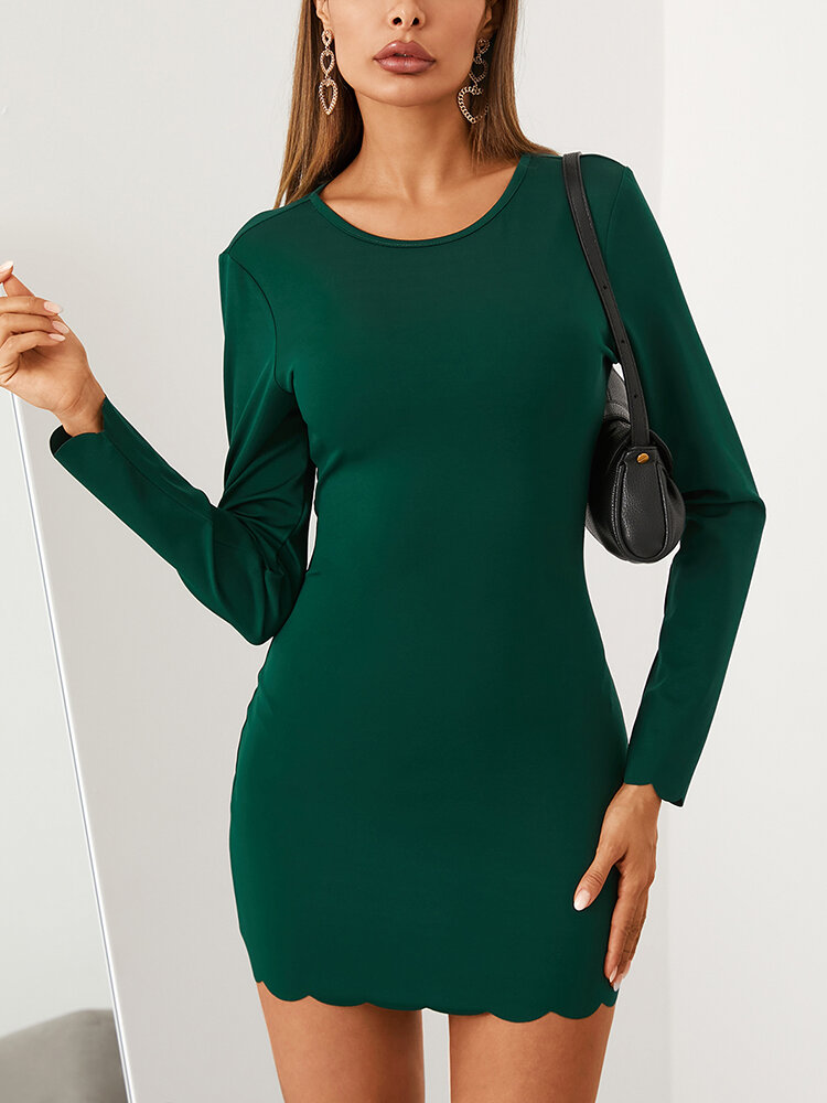 Solid Color O-neck Long Sleeve Mini Casual Dress For Women