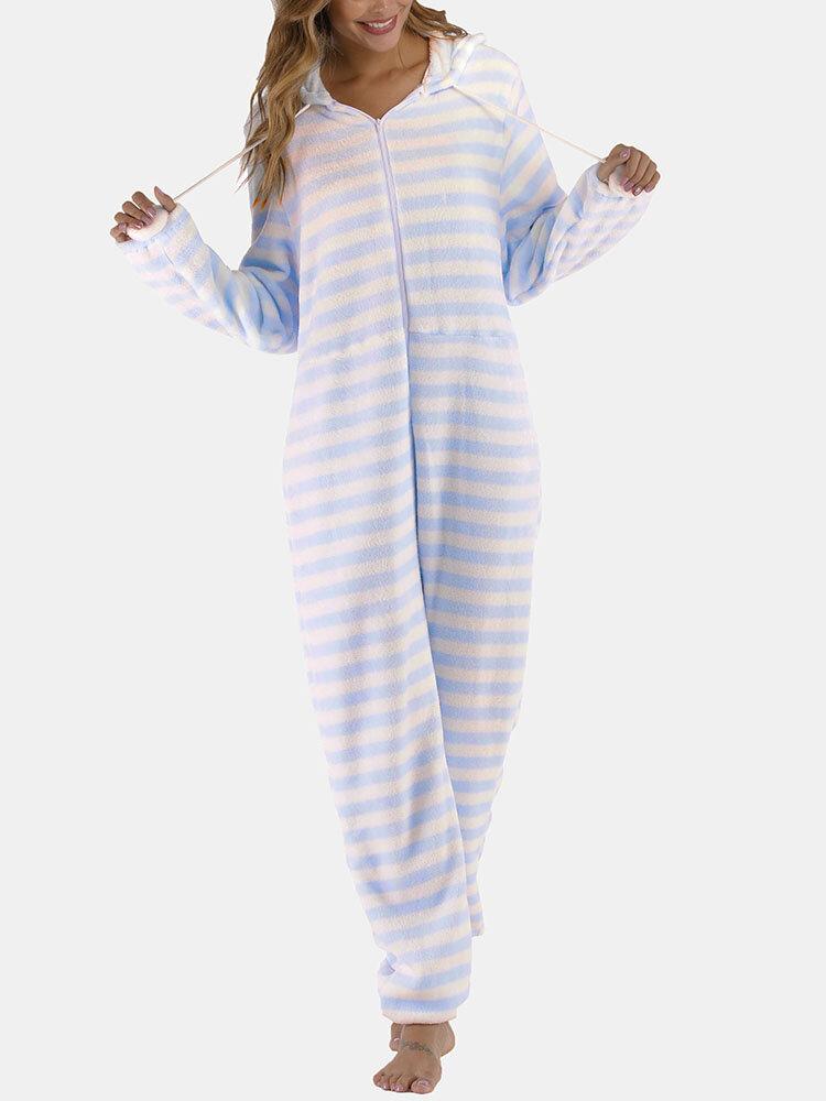 Women Plus Size Flannels Hooded Onesie Striped Zipper Warm Plush Pajamas For Winter Spring