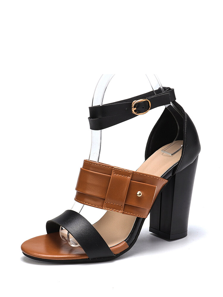 Large Sizes Women Double Band Buckle Pumps Chunky Shoes