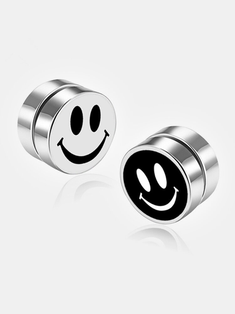 Fashion Magnetic No Pierced Mens Earrings Stainless Steel Round Clip On Stud Earrings for Women