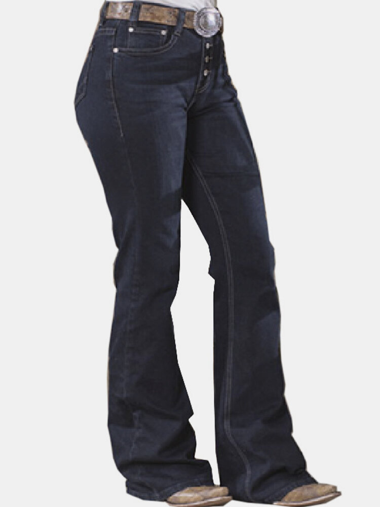 Mid Waist Solid Color Pockets Casual Jeans For Women