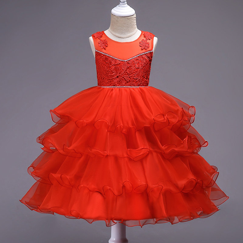 Pleated Flower Girls Kids Sleeveless Formal Pageant Princess Dress For 4Y-12Y