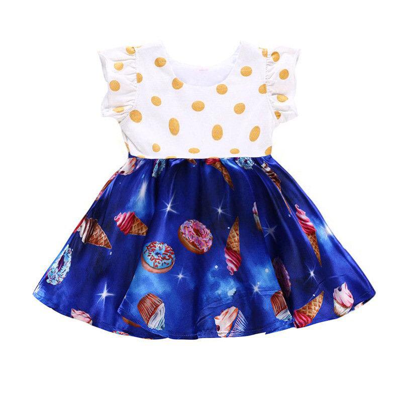 Ruffles Dot Ice Cream Printed Toddlers Girls Kids Sleeveless Summer Party Dresses