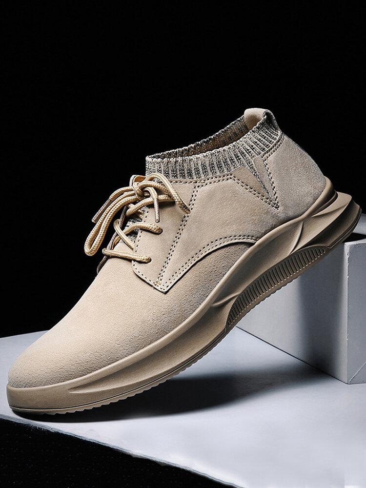 Men Pure Color Non Slip Elastic Panels Soft  Sole Casual Leather Shoes