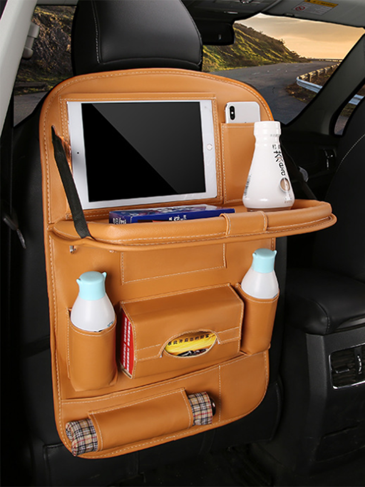 Leather Pad Bag Car Seat Back Organizer Foldable Table Tray Travel Storage Bag Foldable Dining Table Car Seat Storage Bag