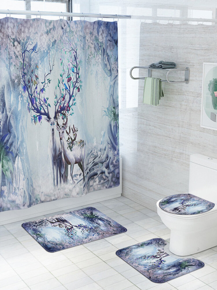 Elk in Fanstry Forest Bathroom Curtain Printed Shower Curtains Bath Products Bathroom Decor with Hooks