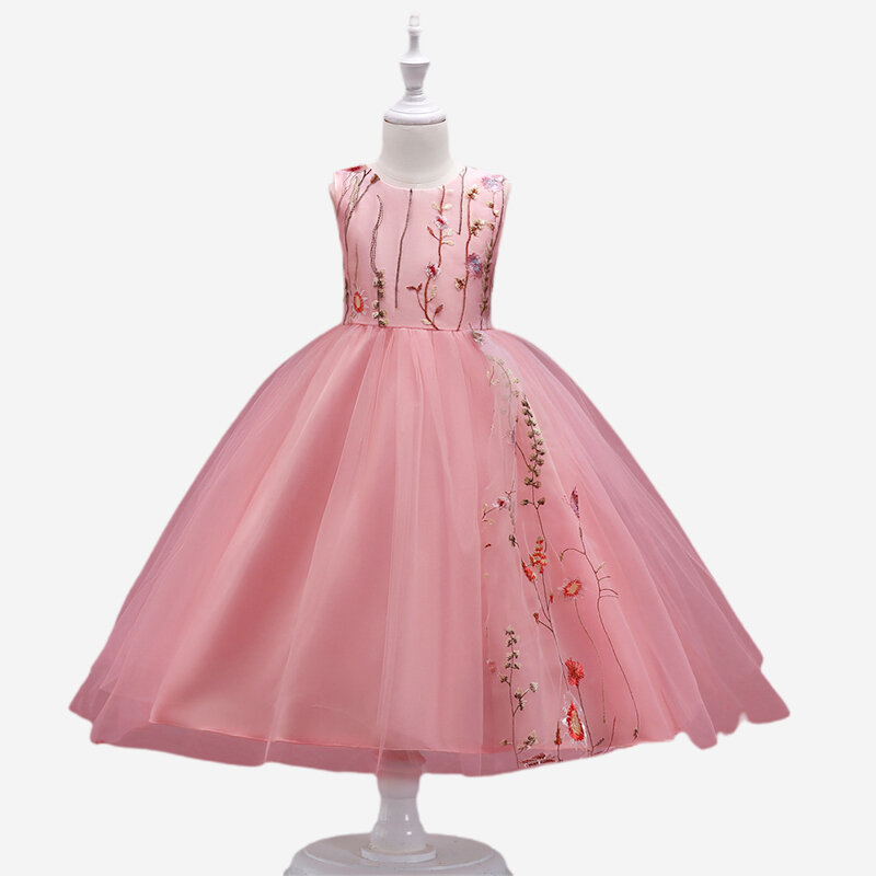 Girl's Floral Embroidered Gauze Princess Casual Dress for 6-13Y