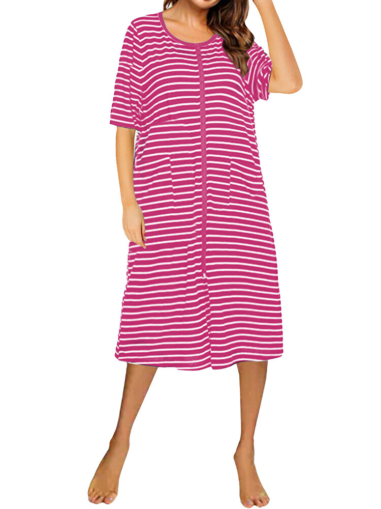 Casual Striped O-neck Short Sleeve Dress for Women