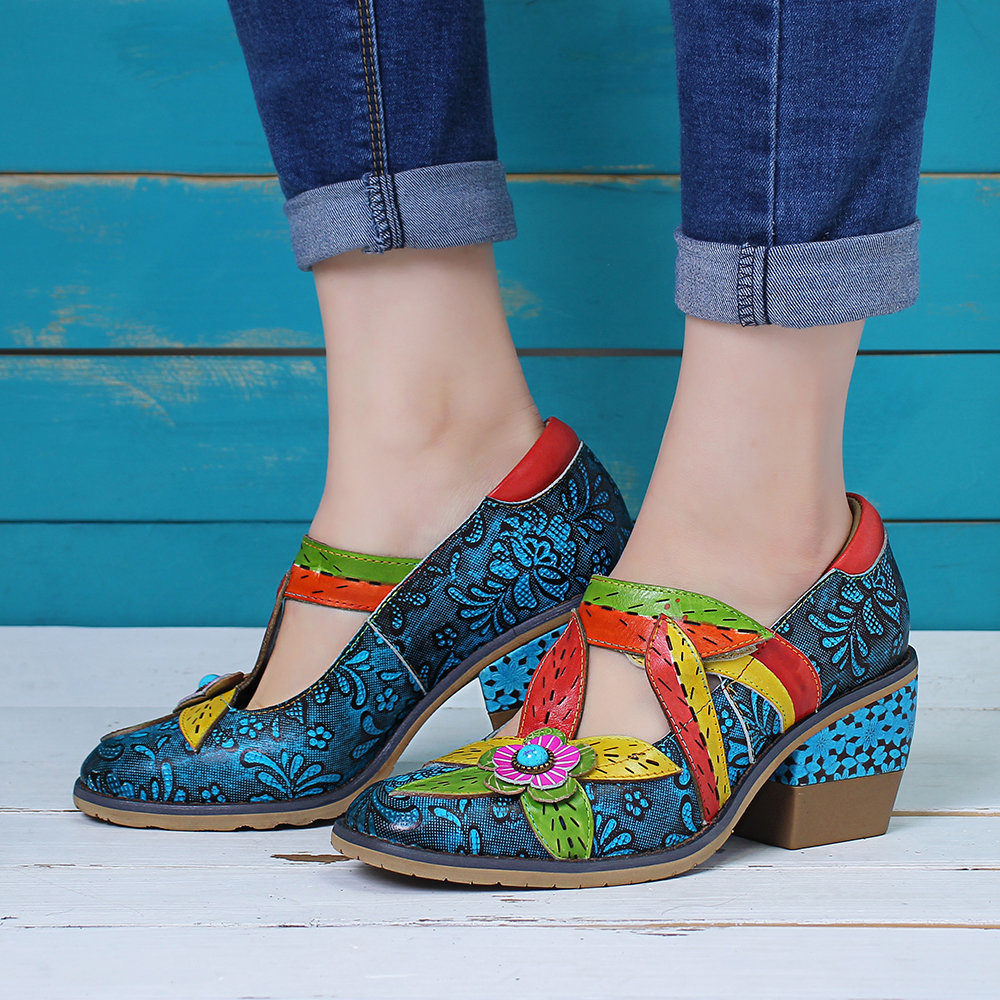 SOCOFY Genuine Leather Flowers Pattern Splicing Colorful Floral Hook Loop Stitching Pumps