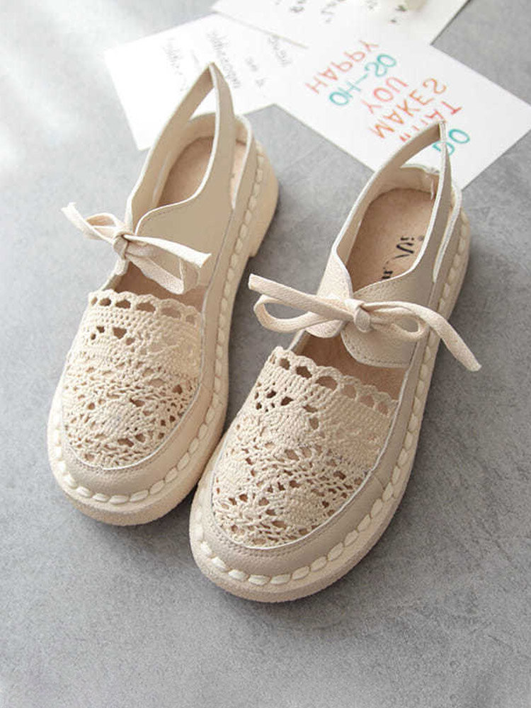 Women Retro Solid Lace Mesh Breathable Soft Flats