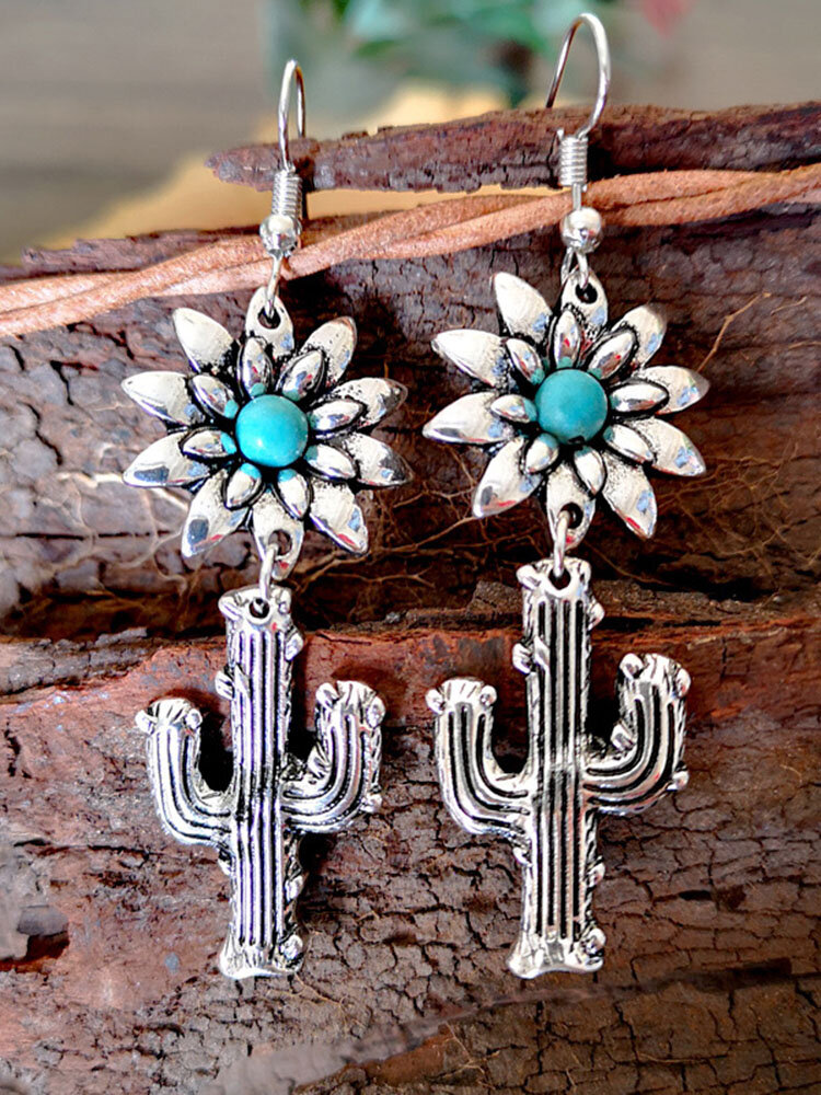 Vintage 925 Silver Plated Cactus Women Earrings Sun Flower Turquoise Earrings