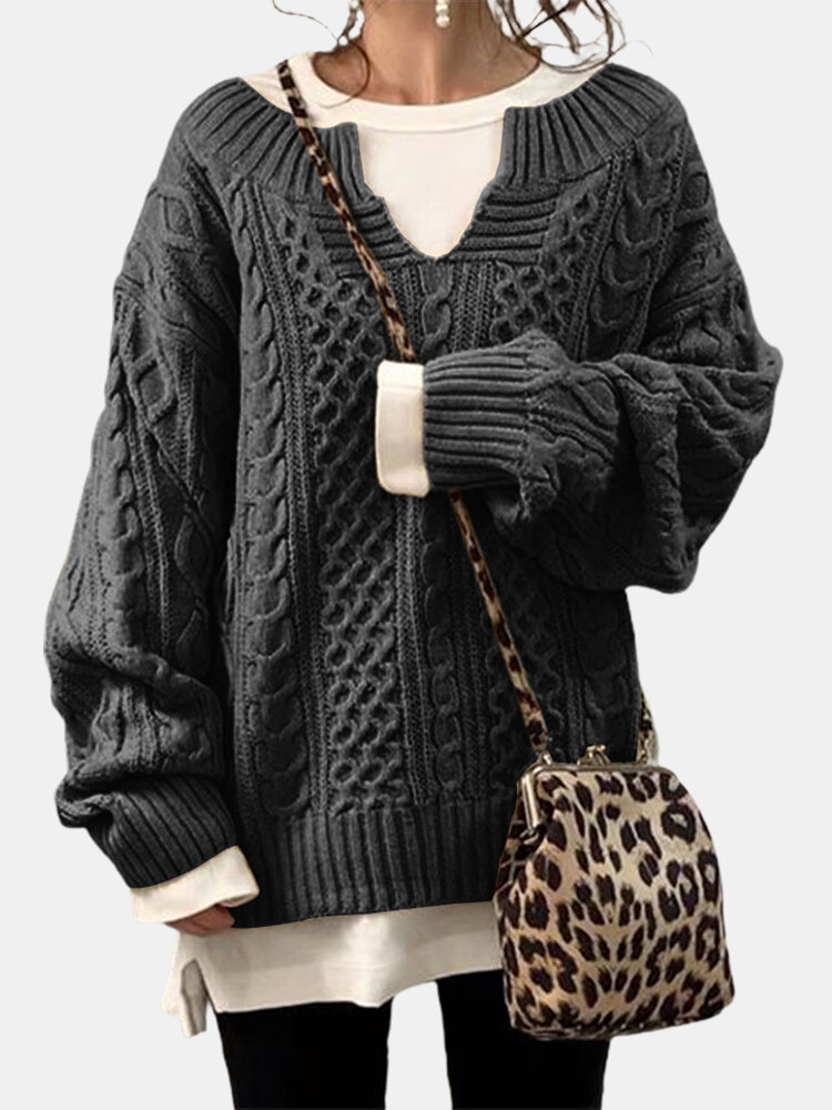 Solid Color Striped Long Sleeves Knitted Casual Sweater for Women