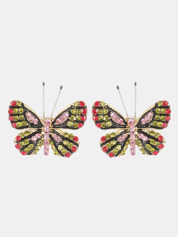Fashion 18K Gold Earrings Butterfly Stud Earrings Colorful Rhinestones Cute Earrings Gift for Women