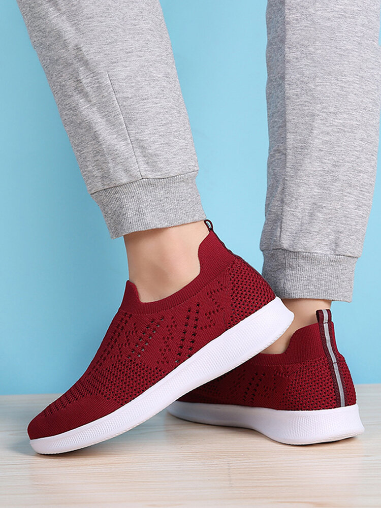 Women's Large Size Comfy Breathable Stretch Knitted Fabric Walking Sneakers