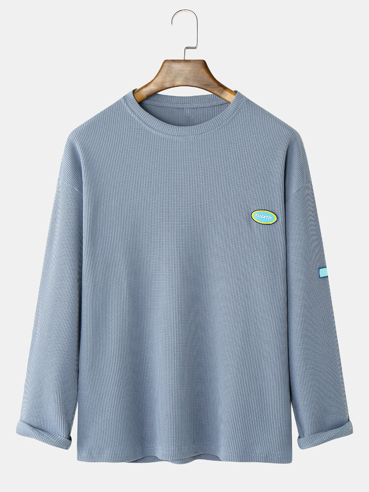 Mens Waffle Solid Tag Crew Neck Cotton Long Sleeve T-Shirts