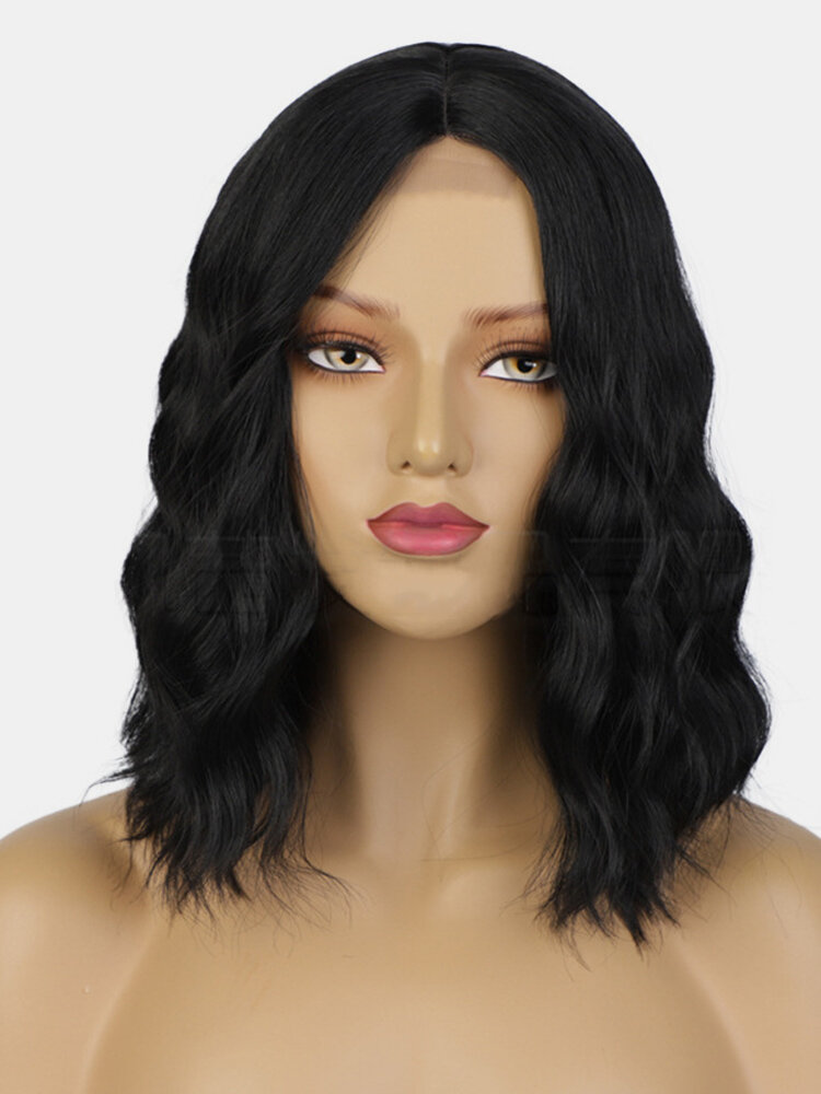 Mixed Brown Front Lace Short Curly Hair Wavy Middle Part Full Head Cover Wig