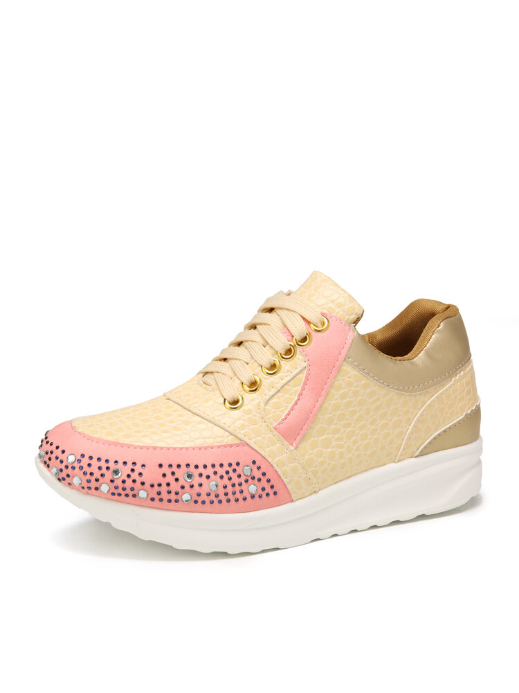 Women Casual Lace Up Diamond Non-Slip Wearable Sports Running Shoes