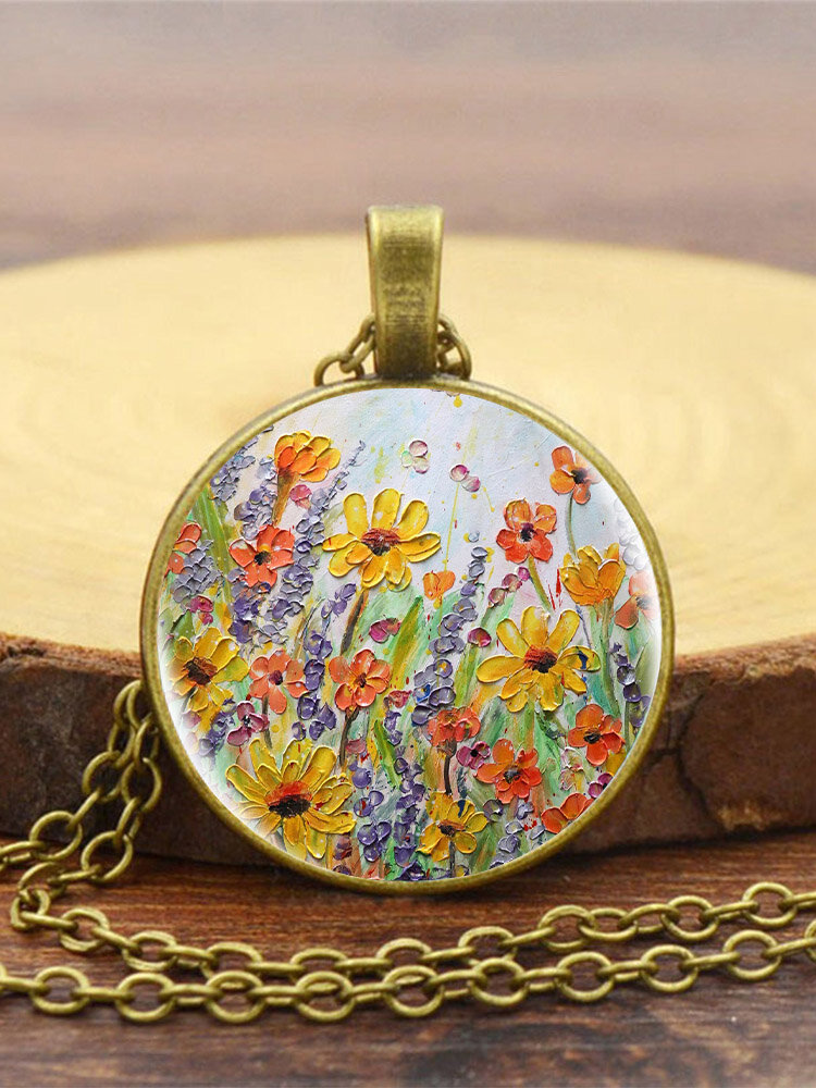 Vintage Glass Printed Women Necklace Colorful Floral Pendant Necklace Jewelry Gift