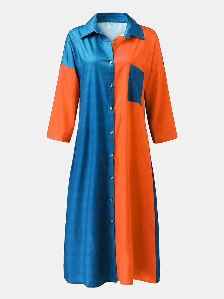 Contrast Color Lapel Long Sleeve Button Pocket Loose Shirt Dress