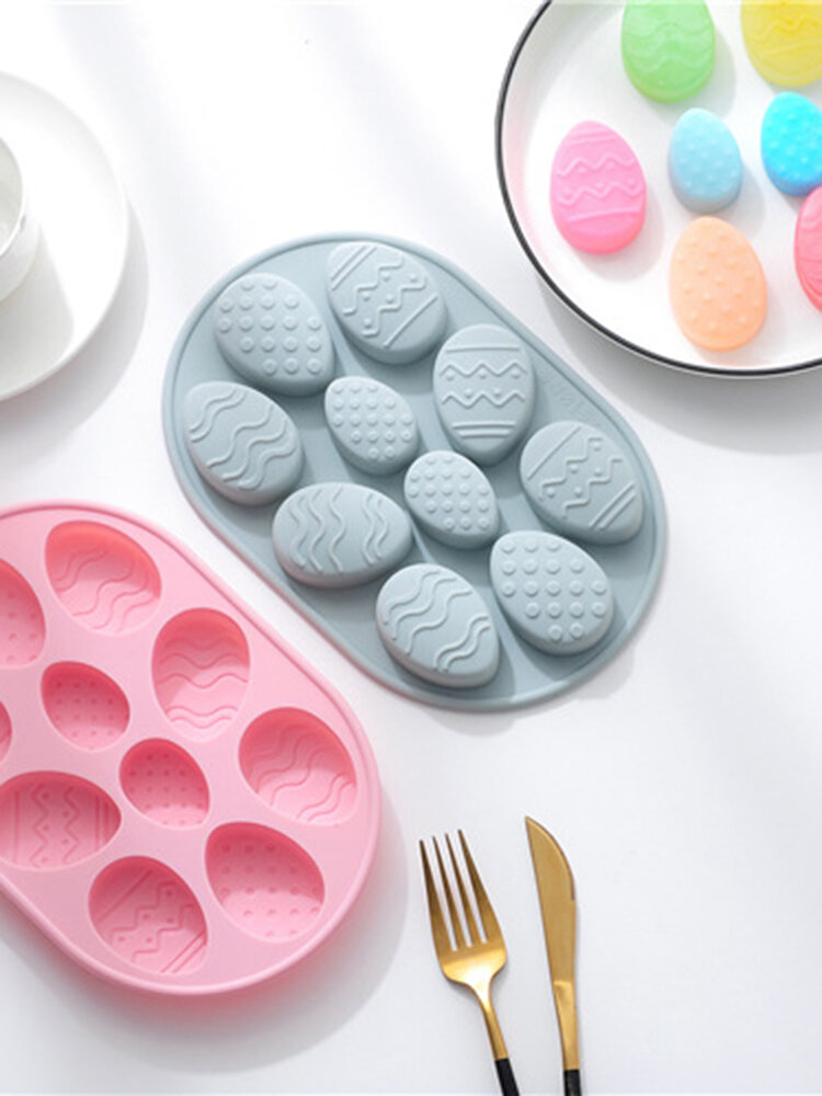 10-holes Easter Eggs DIY Cake Pudding Mould Reuseable Flexible Non-sticky Silicone Home Handmake Baking Hoilday Food Mold Bakeware