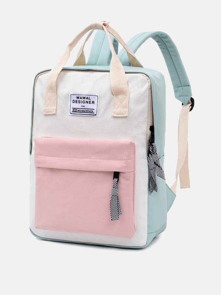 Women Waterproof Patchwork Anti theft Large Capacity Backpack