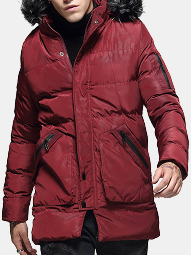 Mens Winter Mid Length Thicken Warm Coat Casual ParkaWithFurHood