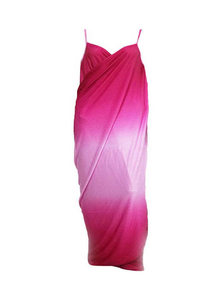 Sexy Women Gradient Long Beach Skirt Cover up Outdoor Sunscreen Sling Dress Sarong Towel