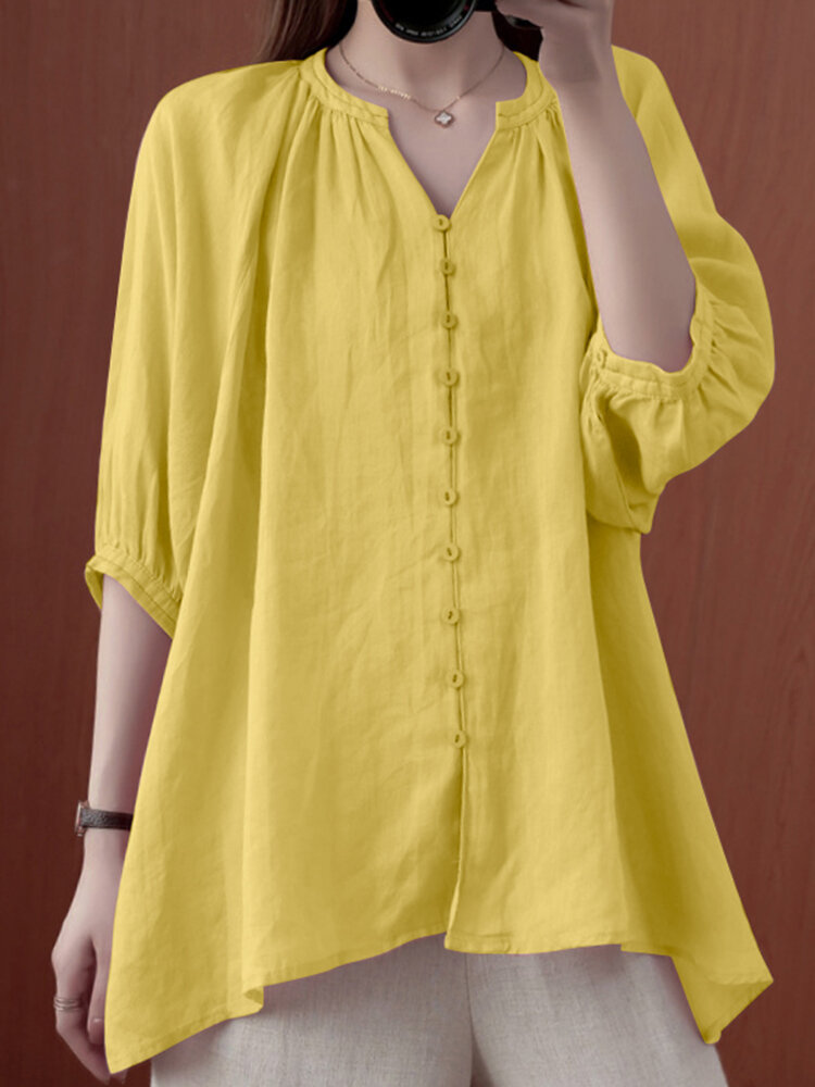 Solid Button V-neck 3/4 Sleeve Loose Women Blouse