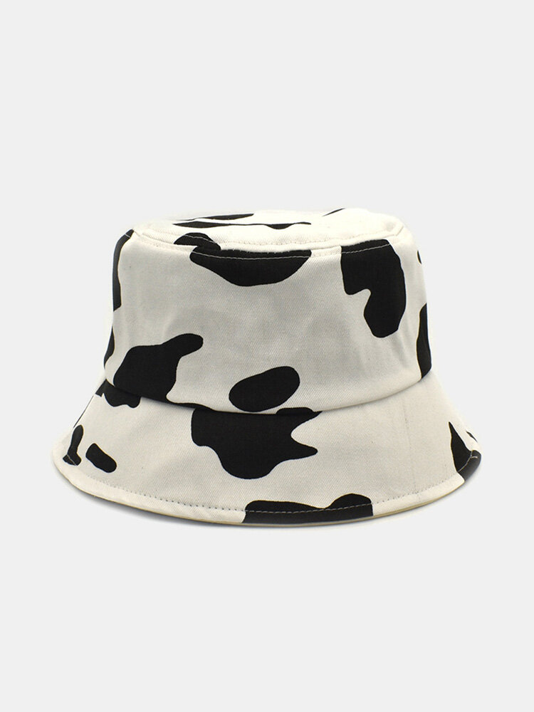 Women Cotton Color Contrast Cow Pattern Printing Fashion All-match Sunscreen Bucket Hat