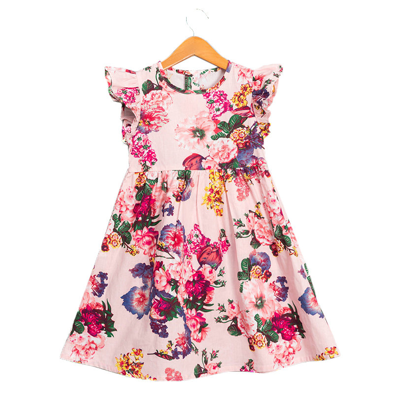 Summer Floral Girls Dress Toddler Kids Sleeveless Casual Cotton Clothes For 2Y-11Y