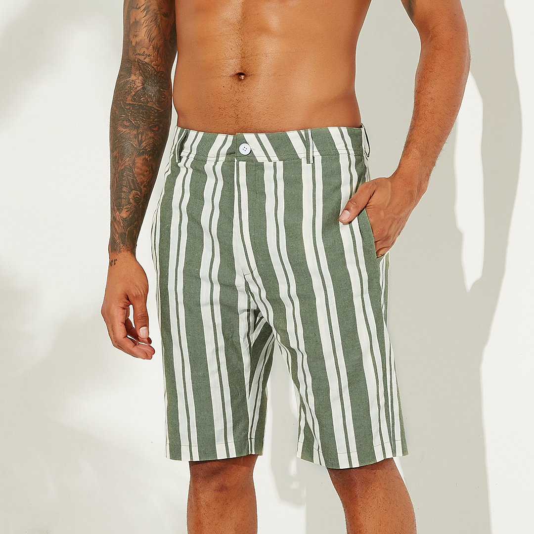 100% Cotton Striped Shorts