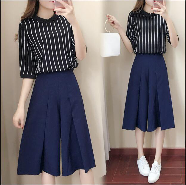 Two-piece Striped Five-point Sleeve Casual Dress Suit