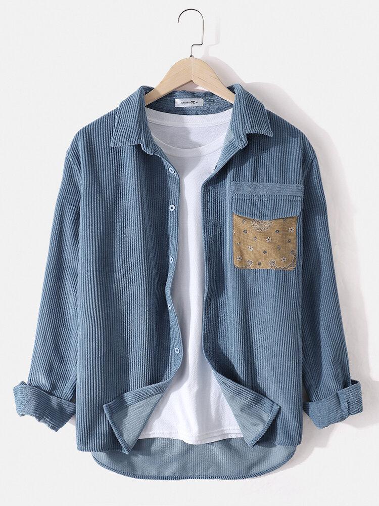 Mens Corduroy Designer Chest Pocket Casual Long Sleeve Shirts