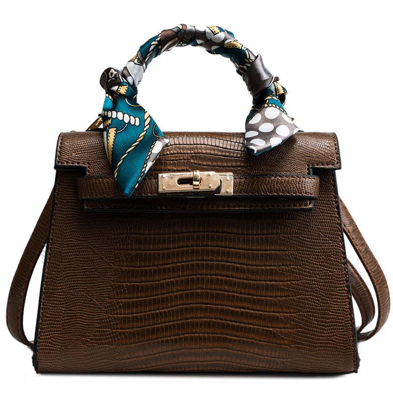 Women Crocodile Patttern Handbag Flap Crossbody Bag Shoulder Bag
