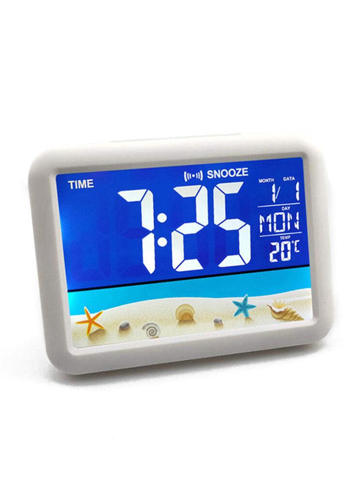Lcd جديد شاشة ملونة على مدار الساعة شاشة كبيرة على مدار الساعة الإلكترونية الأطفال الطلاب السرير المنبه مصنع مستقيم الشعر 7002wj