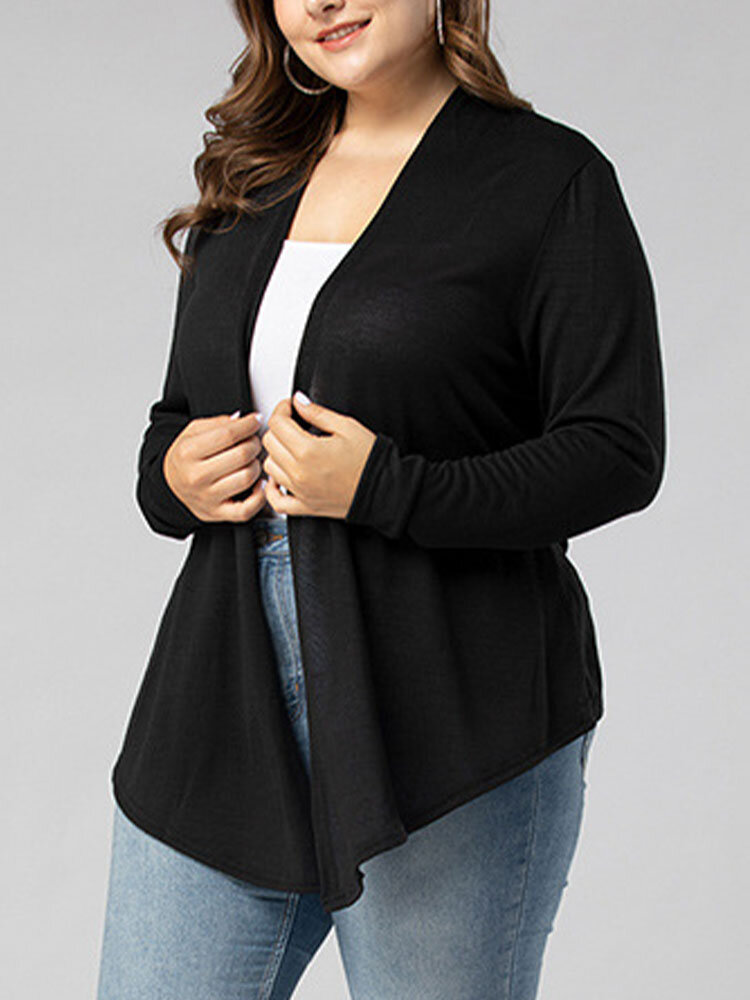 Plain Casual Solid Color Plus Size Thin Knit Cardigan