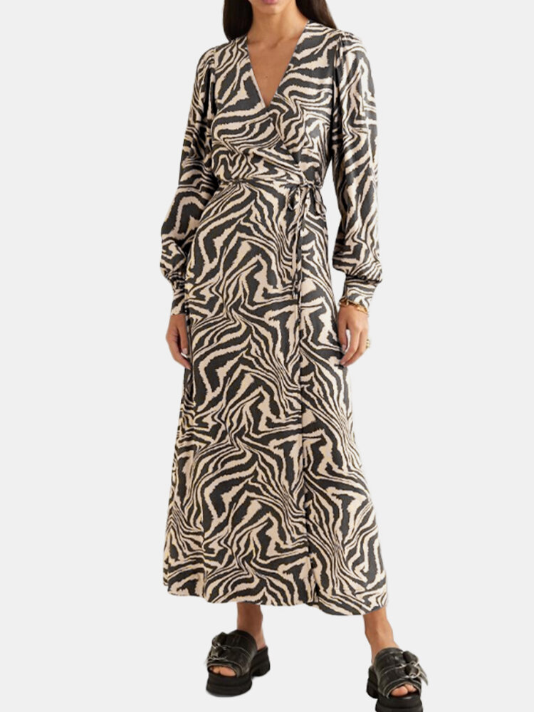Tiger Print Knotted V-neck Casual Dress for Women