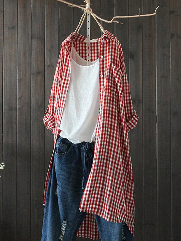 Plaid Lapel Long Sleeve Irregular Vintage Long Shirt