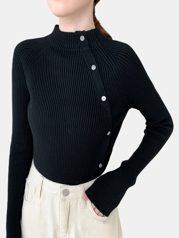 Solid Color Long Sleeve Half-collar Button Sweater For Women