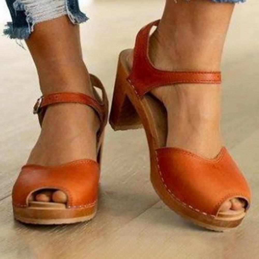 Plus Size Women Comfy Open Peep Toe High Chunky Heel Sandals