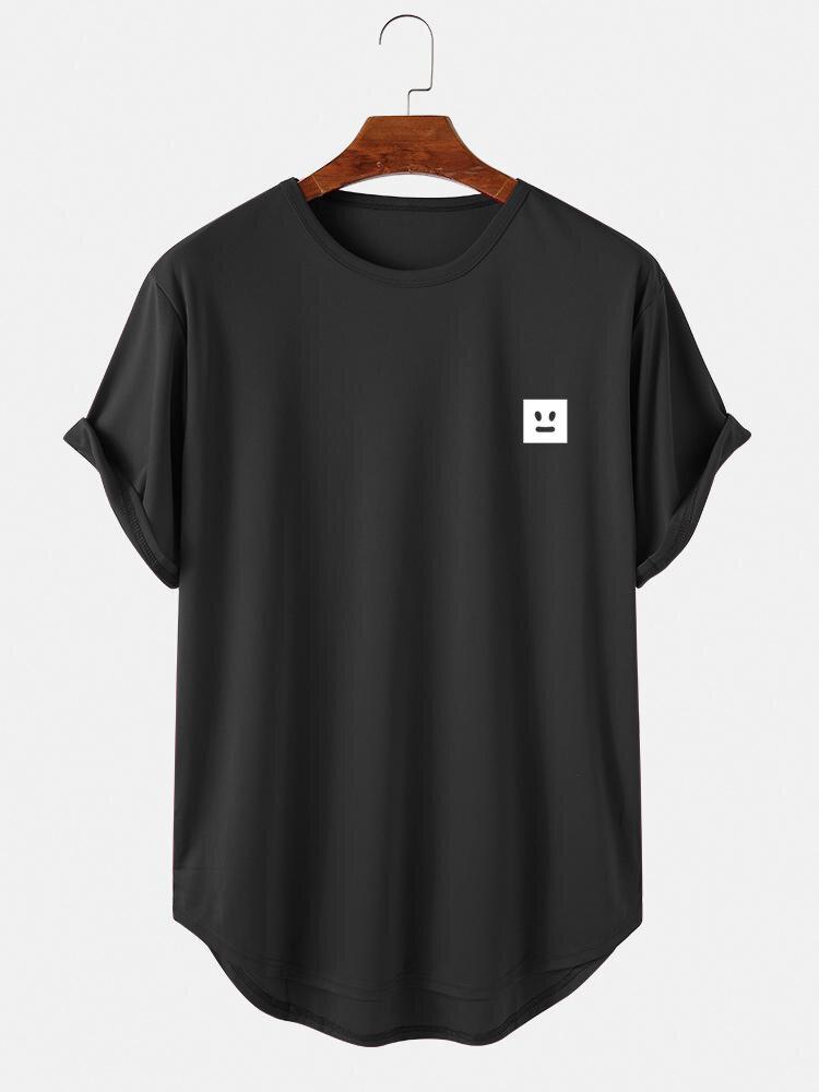 メンズジオフェイスグラフィックハイローカーブヘムスポーツ半袖Tシャツ