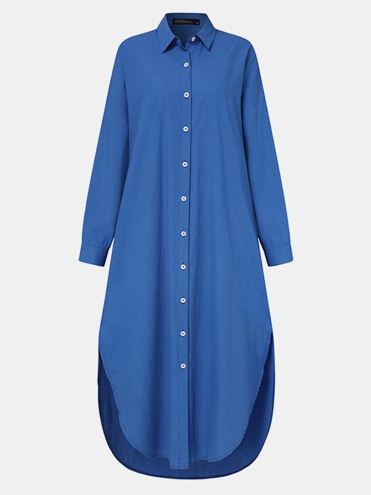 Frauen einfarbig Taschenknopf Revers Langarm Casual Bluse