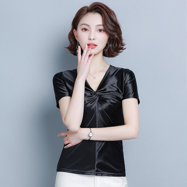 Season New Solid Color Short-sleeved T-shirt Female Simple V-neck Pullover Top