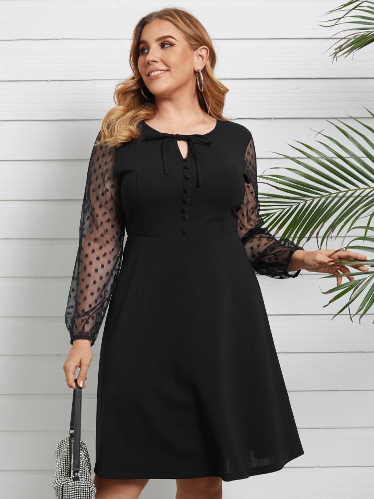 水玉メッシュパッチワークOネックノットPlusサイズの女性用ドレス