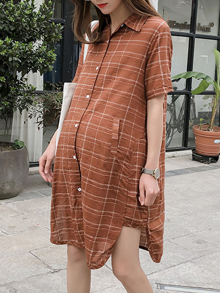 Plaid Printed Cotton Pregnant Women Short Sleeve Shirt Dress