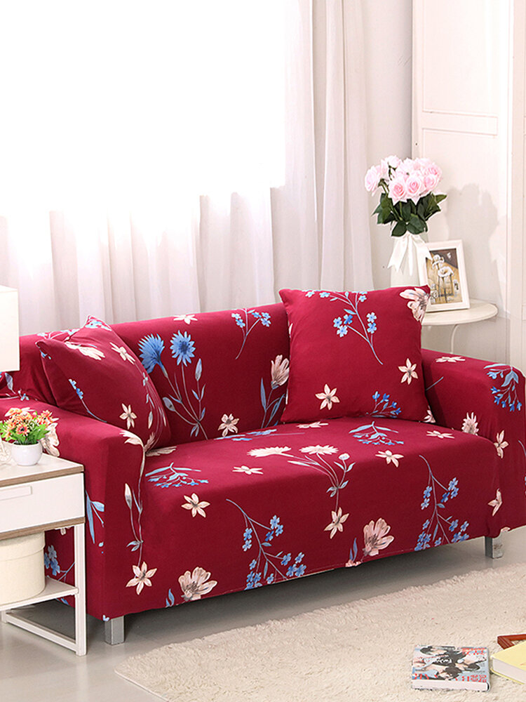 Red Kimono 1/3 Seater Home Soft Elastic Sofa Cover Easy Stretch Slipcover Protector Couch
