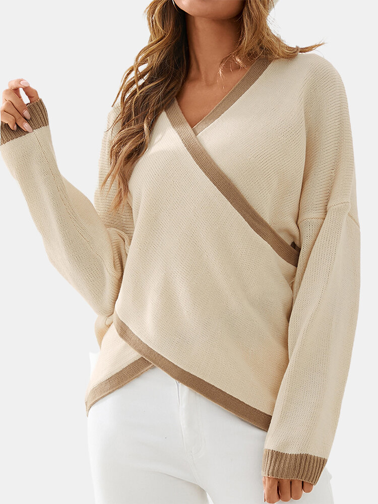 Striped Print Crossed-design V-neck Long Sleeve Casual Sweater