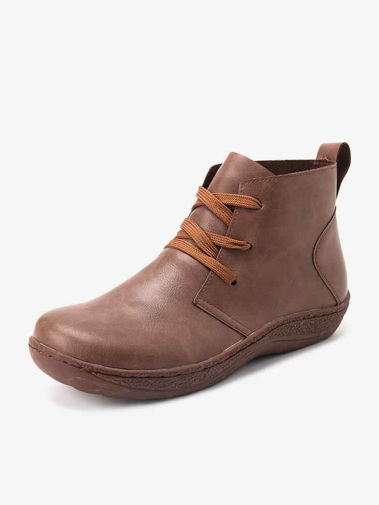 Womens Lace Up Slip Resistant Round Toe Wide Foot Casual Ankle Boots